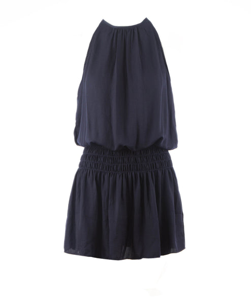 Mia Halter Neck Smocked Waist Dress Navy