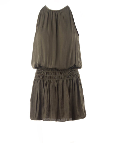 Mia Halter Neck Smocked Waist Dress Olive