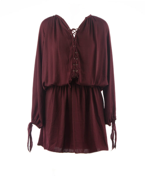 Miley Long Sleeve Lace Up Smock Waist Dress Beet