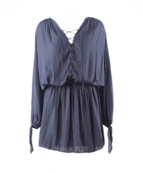 Miley-BlueIndigo Long Sleeve Lace Up Smock Waist Dress
