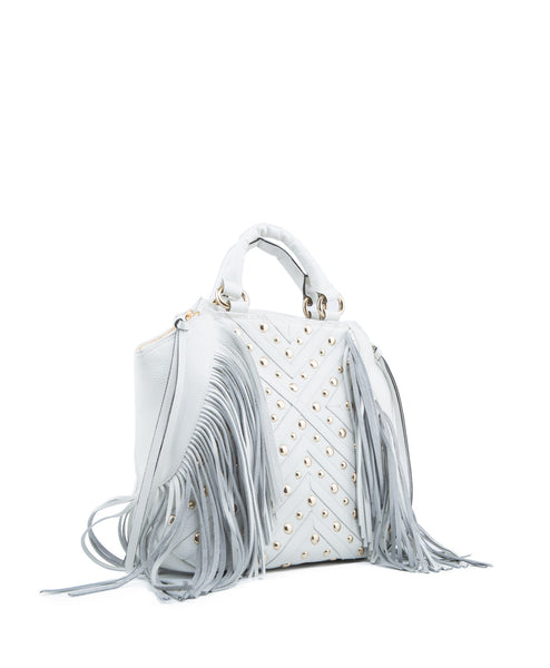 Leather Fringe Satchel in White