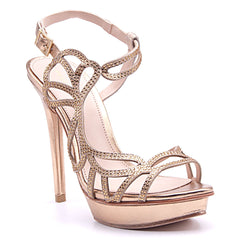 Fey Gold Asymmetrical High Heel - Koko & Palenki - 2