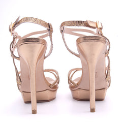 Fey Gold Asymmetrical High Heel - Koko & Palenki - 4