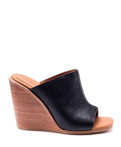 ANNA LEATHER WEDGE SLIDE (BLACK) BY SEE BY CHLOE