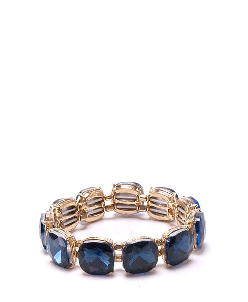 Square Crystal Bracelet (Navy/Gold) by Surii