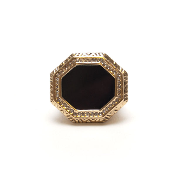 Enlightening Octagon Cocktail Ring (Black) by House of Harlow 1960