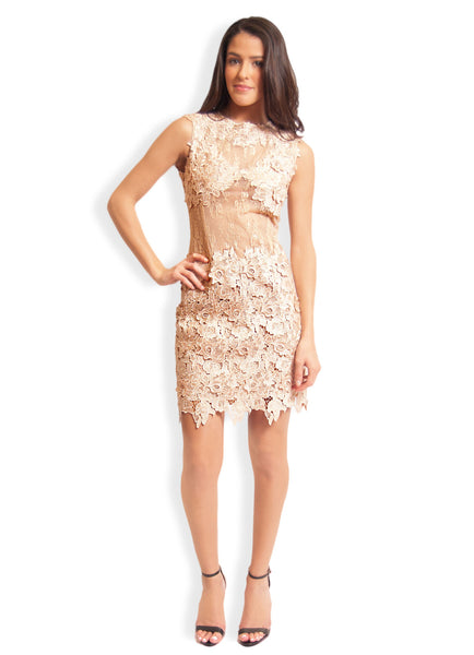 Floral Lace Dress (Nude) by Koko & Palenki
