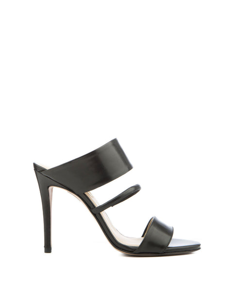 Black Resin Leather Evening Mule Sandal