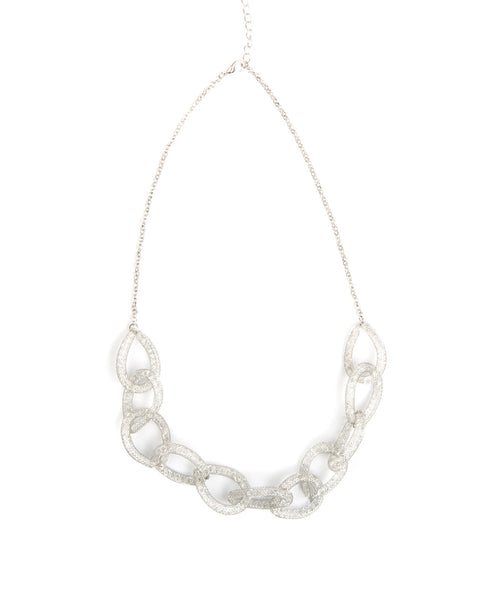 CRYSTAL FILLED CHAIN-LINK NECKLACE