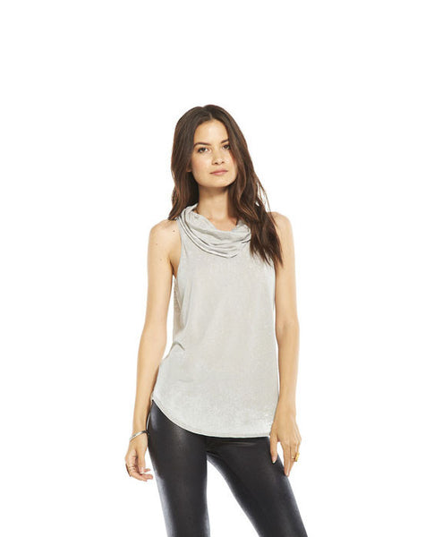Sleeveless Cowl Neck Tee with Open Back