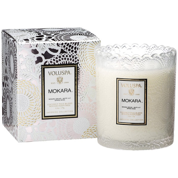 7208_Mokara Japonica Collection Scalloped Edge glass candle