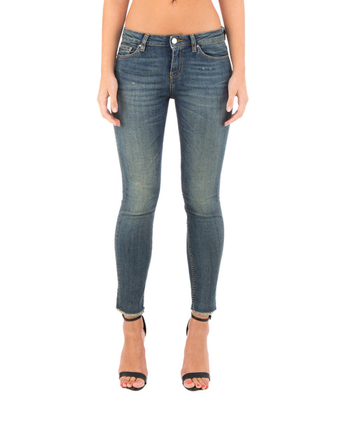 47373 Skinny Raw Hem in Denim Blue