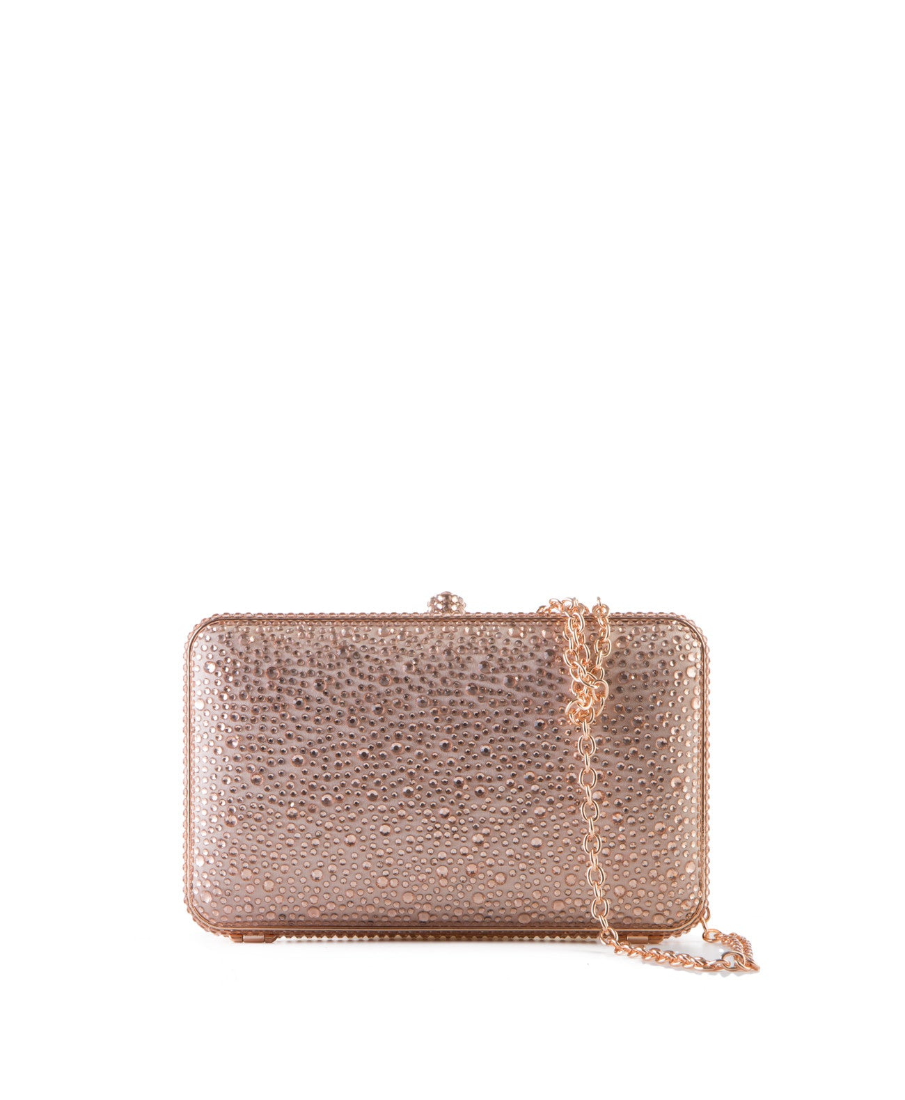 Rose Gold Crystal Hard Case Clutch - Koko & Palenki - 1