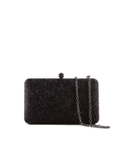 Black Crystal Hard Case Clutch