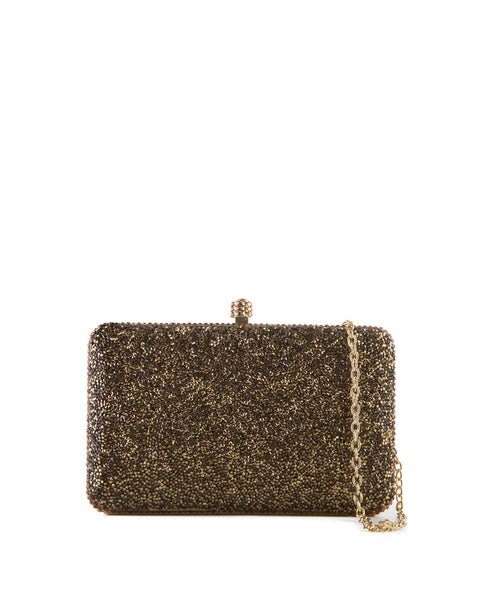 Gold Crystal Hard Case Clutch