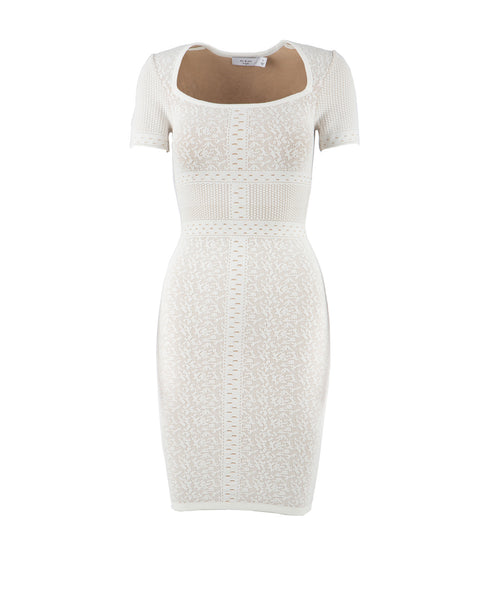 AJ407 Short Sleeve Lace Sweater Dress