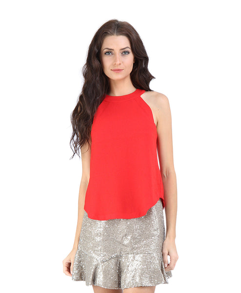 High Neck Sleeveless Woven Top