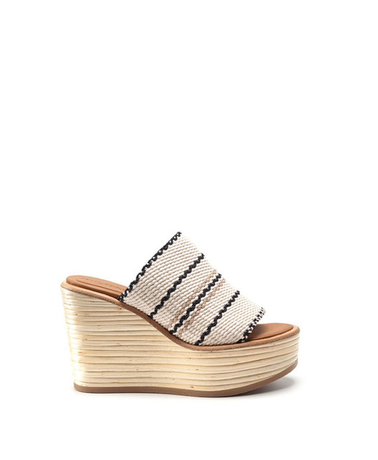 Bamboo Wedge Slide in White - Koko & Palenki - 1