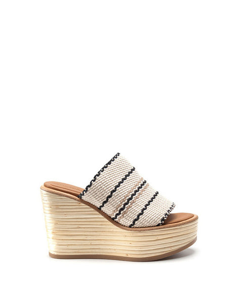 Bamboo Wedge Slide in White