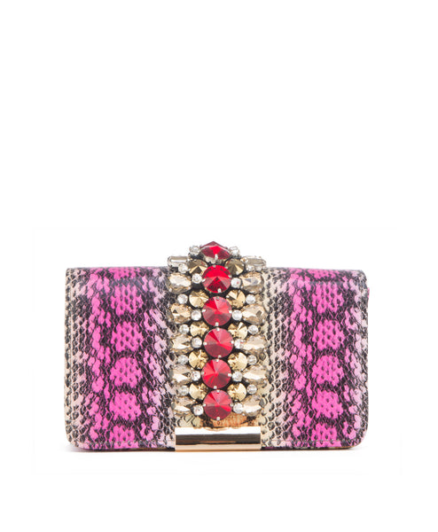 Jeweled snake print clutch