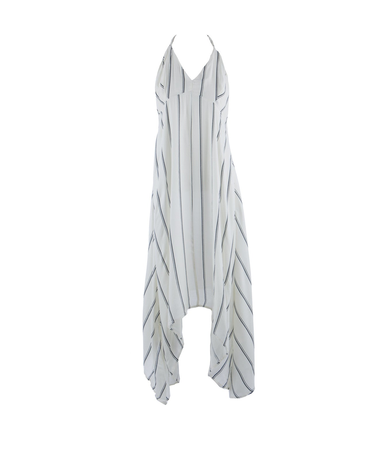 CPP5194 Asymmetrical Halter Striped Dress