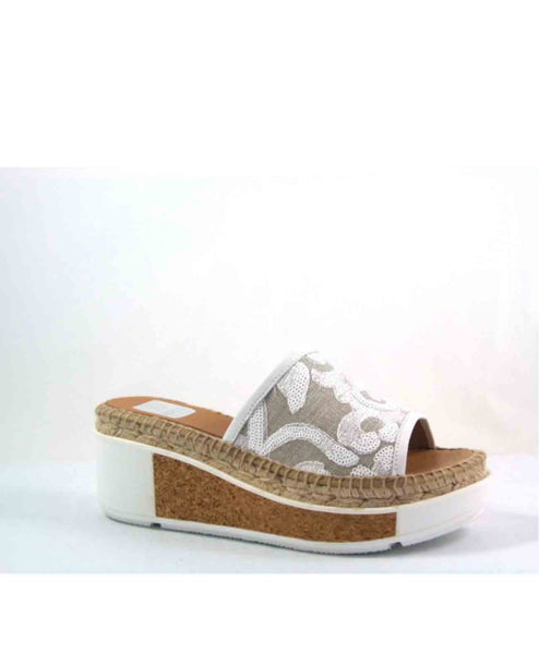 Cally Sequin fabric espadrille slip on wedge