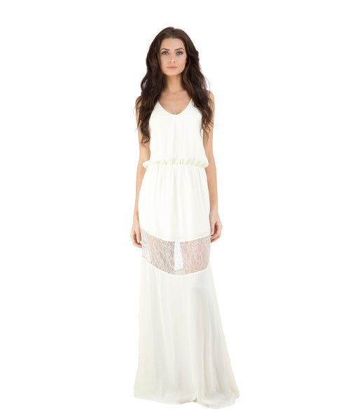 Camila Solid Maxi w/ Lace Inserts