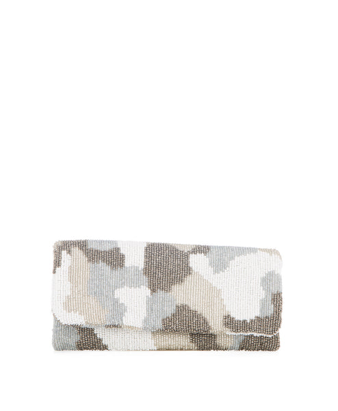 Camouflage beaded foldover clutch