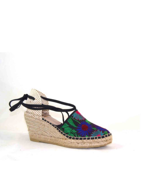 Cillian Floral embroidered tie up espadrille wedge