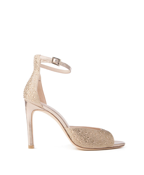 Erica_gold Embellished high heel ankle strap sandal
