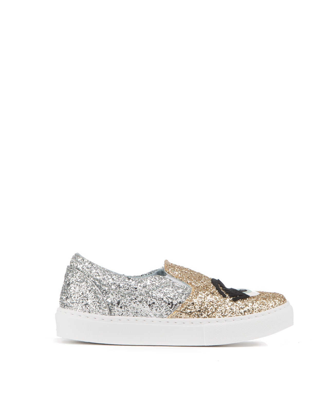 Two tone glitter slip on sneaker