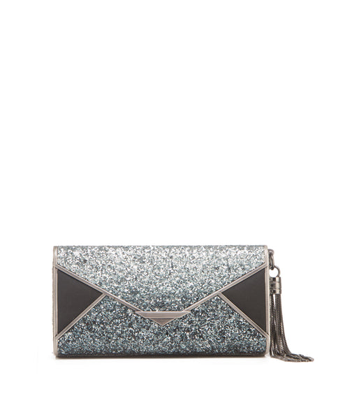 Glitter_envy_silver Ombre glitter inlay metal frame envelope clutch tassel release clasp