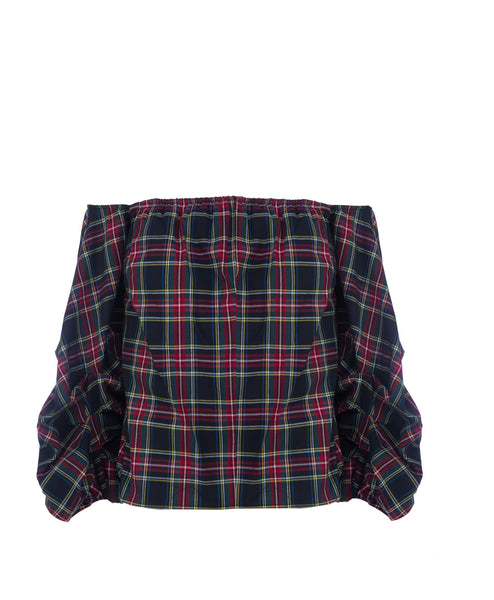 Hannah Off Shoulder Plaid Top