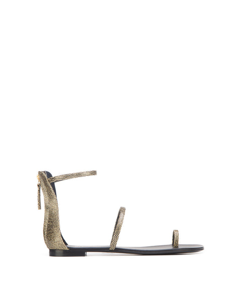 Harmony_flat_blkgold Toe ring double strap back zip printed flat sandal