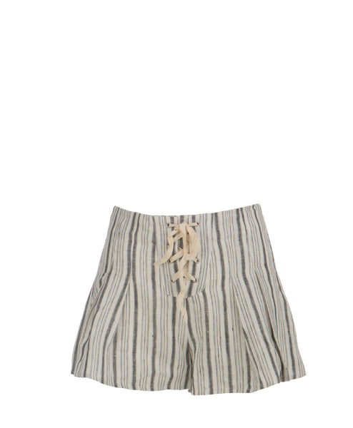 IP6844A Striped Linen Flutter Lace Up Shorts