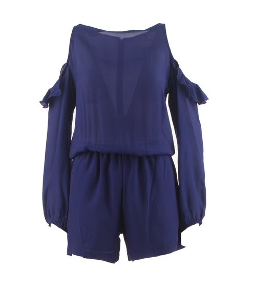 Issy Ruffled Cold Shoulder Romper