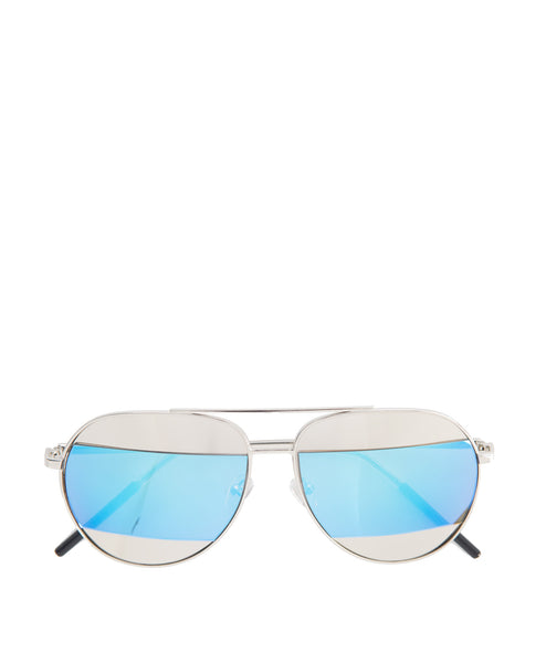 Jill-Blue Mirror stripe Aviator Sunglass