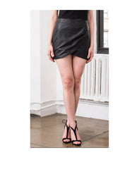 Tulipan Crossover Leather Skirt