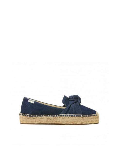 Denim Knotted Platform Smoking Slipper