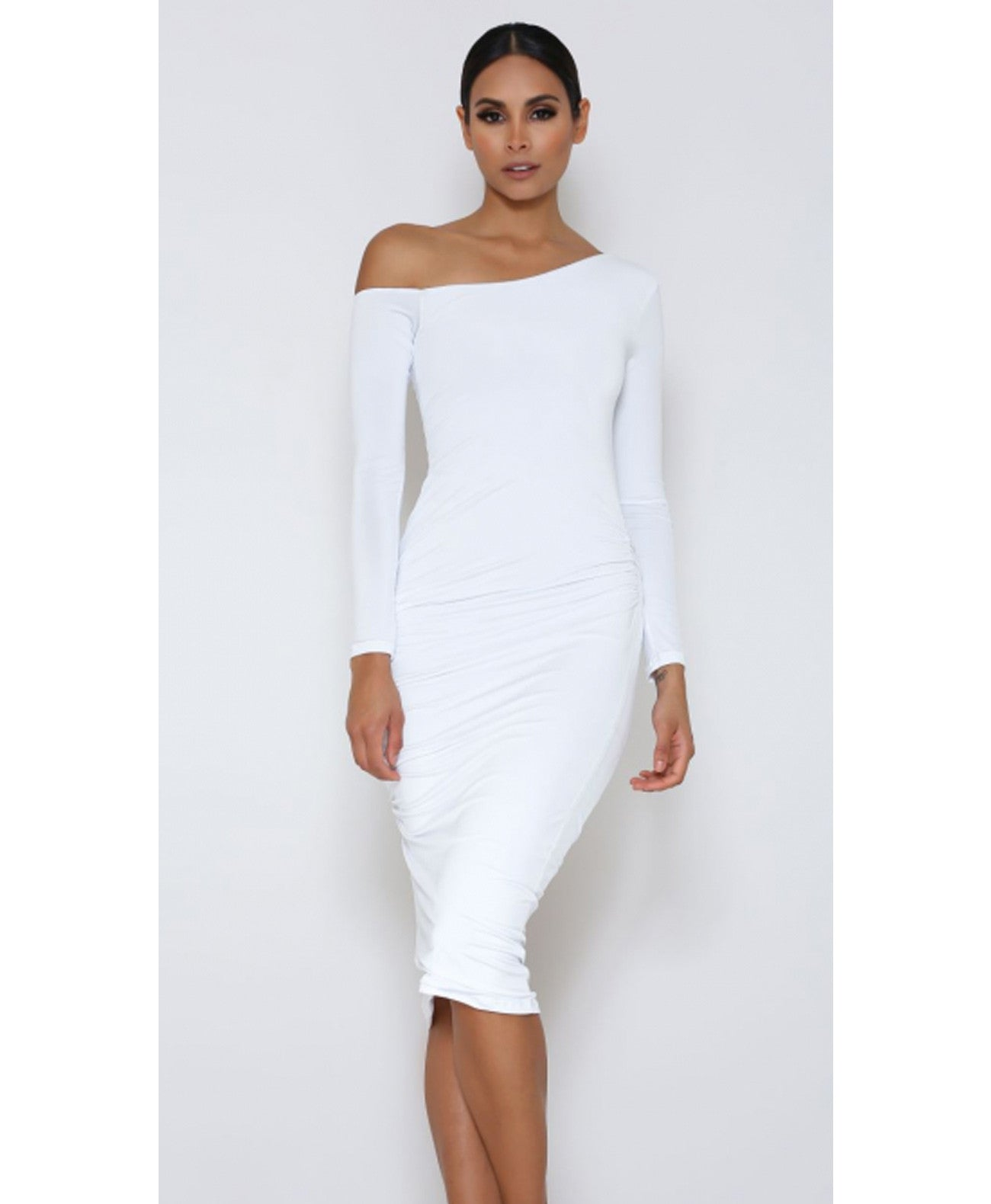 Kori-white Long Sleeve Off Shoulder Midi Dress