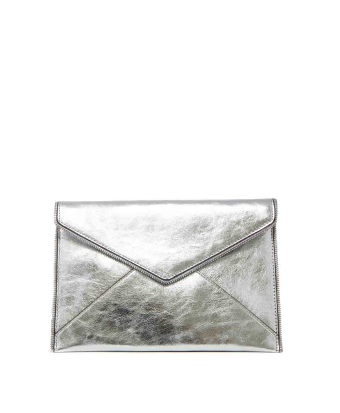 Leo distressed leather envelope clutch handbag