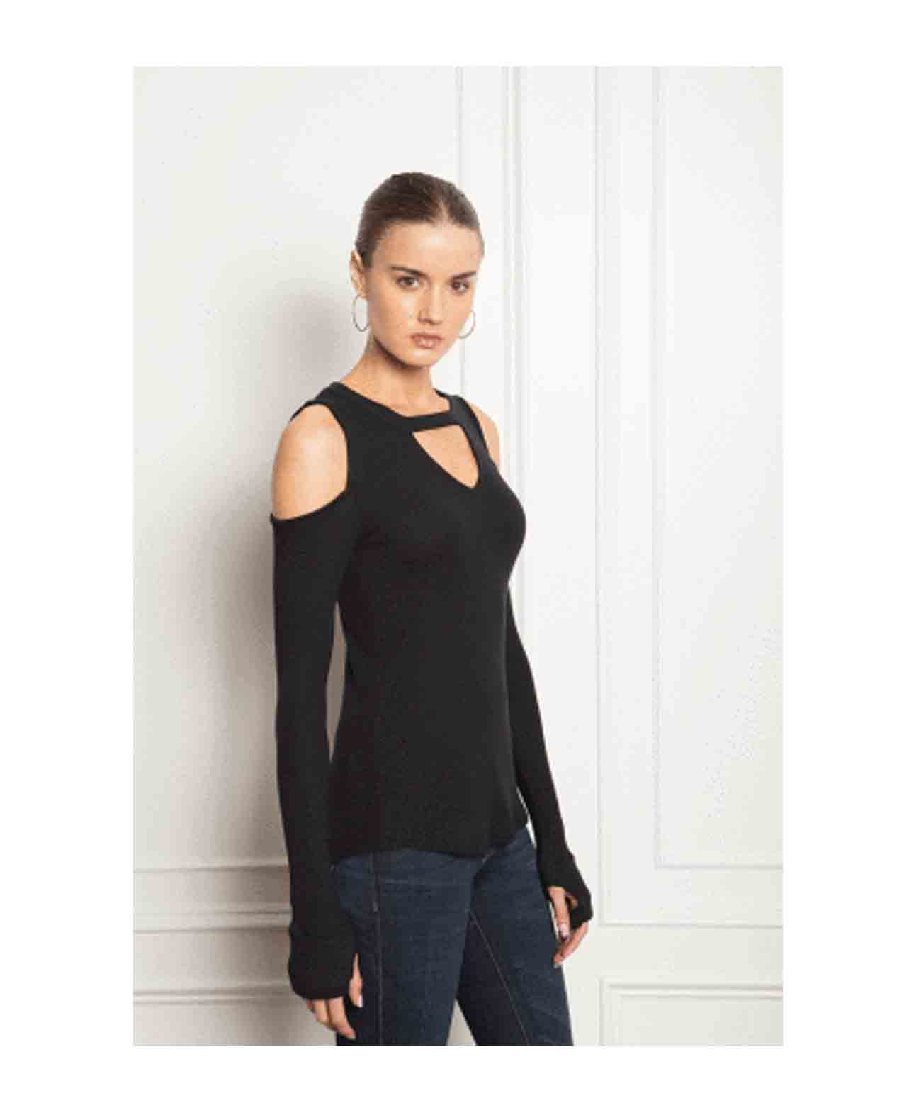 Logan-Black Cold shoulder key hole long sleeve thermal top