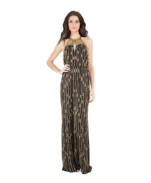 Marceline Beaded High Neck Column Gown