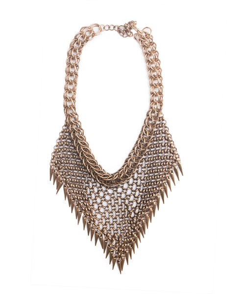 Metal Mesh Bib Necklace Gold