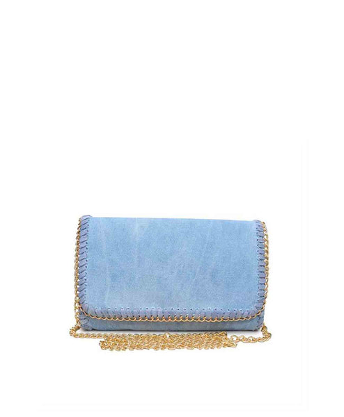 Mia Chain border denim clutch