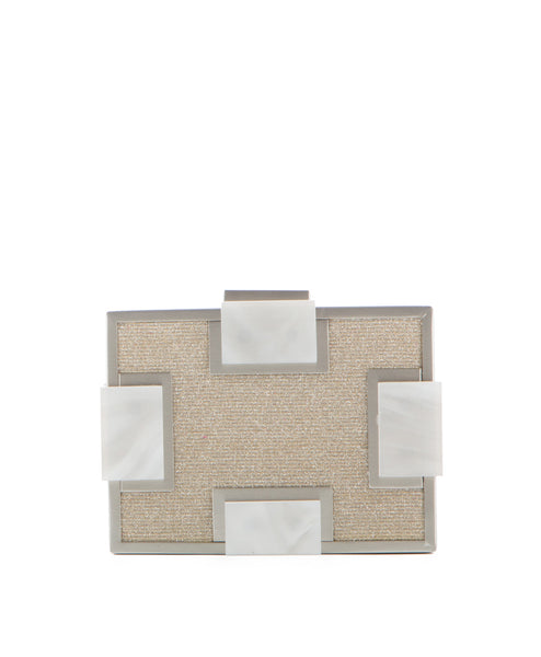 Geometric Metal And Marble Clutch