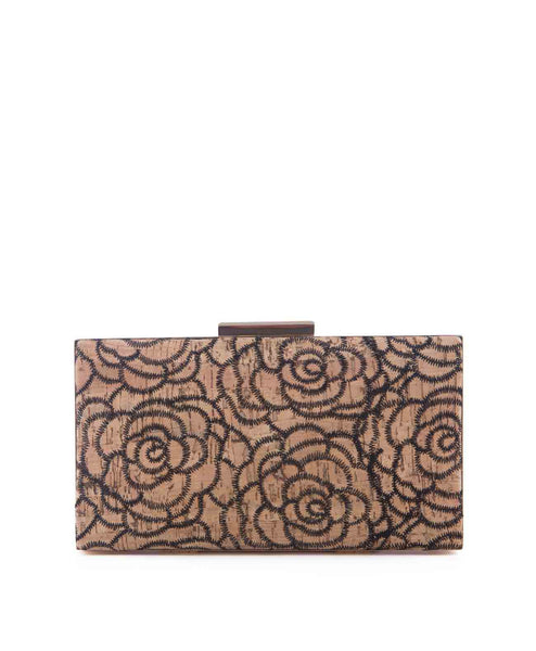 NaturalInstinct_cork Floral stitched cork clutch