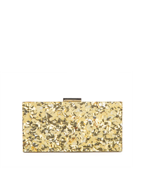 Oscar_worthy_gold Confetti glitter resin box clutch