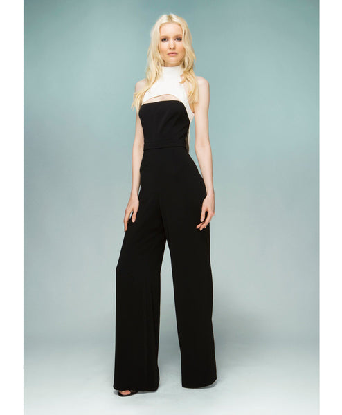 Sprott High Neck Two-Tone Jumpsuit