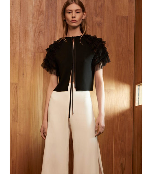 Saffe Tulle Ruffled Cropped Top/Jacket